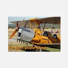 I'm just plane crazy: Tiger Moth Rectangle Magnet