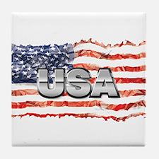 US Flag Design Tile Coaster