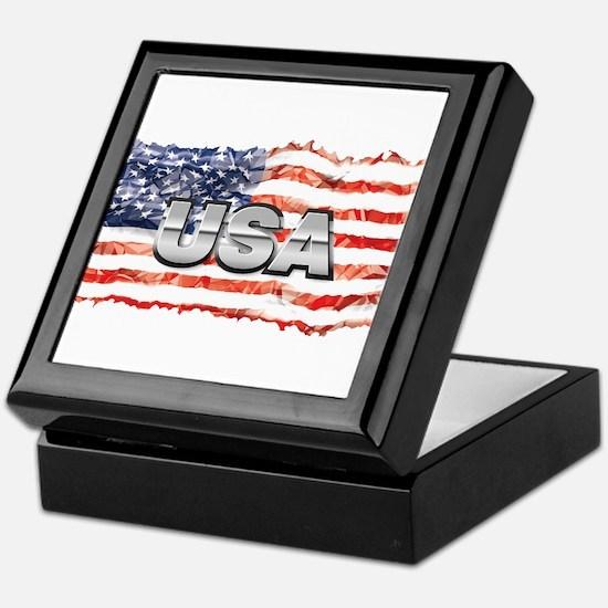 US Flag Design Keepsake Box