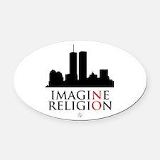 Imagine No Religion Oval Car Magnet