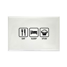 Eat Sleep Stud Rectangle Magnet