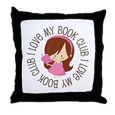 I Love Book Club Reading Throw Pillow