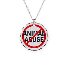 Anti / No Animal Abuse Necklace Circle Charm