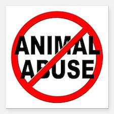 "Anti / No Animal Abuse Square Car Magnet 3"" x 3"""