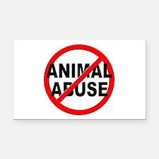 Anti / No Animal Abuse Rectangle Car Magnet