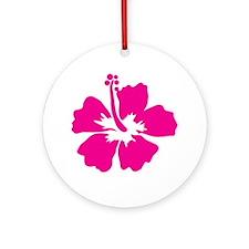 Hot Pink Hibiscus Flower Ornament (Round)