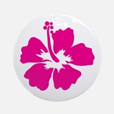 Hot Pink Hibiscus Flower Ornament (Round)