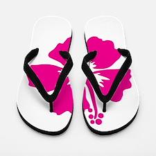 Hot Pink Hibiscus Flower Flip Flops