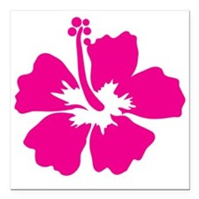 "Hot Pink Hibiscus Flower Square Car Magnet 3"" x 3"""