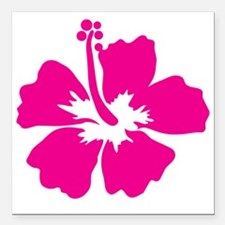 """Hot Pink Hibiscus Flower Square Car Magnet 3"""" x 3"""""""
