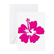 Hot Pink Hibiscus Flower Greeting Card