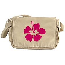 Hot Pink Hibiscus Flower Messenger Bag