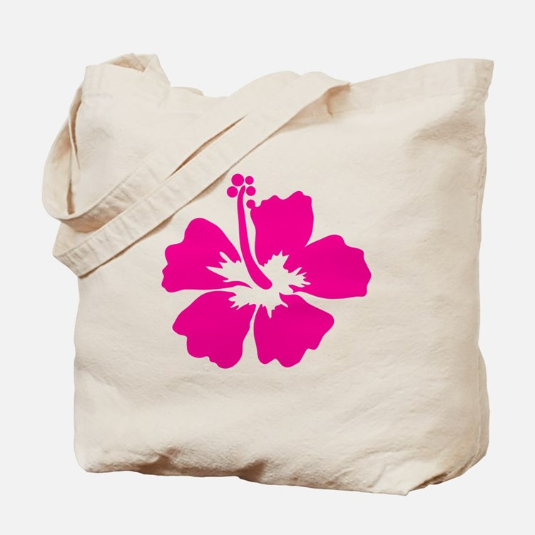 Hot Pink Hibiscus Flower Tote Bag