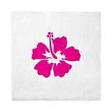 Hot pink hibiscus flower Queen Duvet Covers