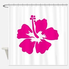 Hot Pink Hibiscus Flower Shower Curtain