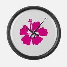 Hot Pink Hibiscus Flower Large Wall Clock