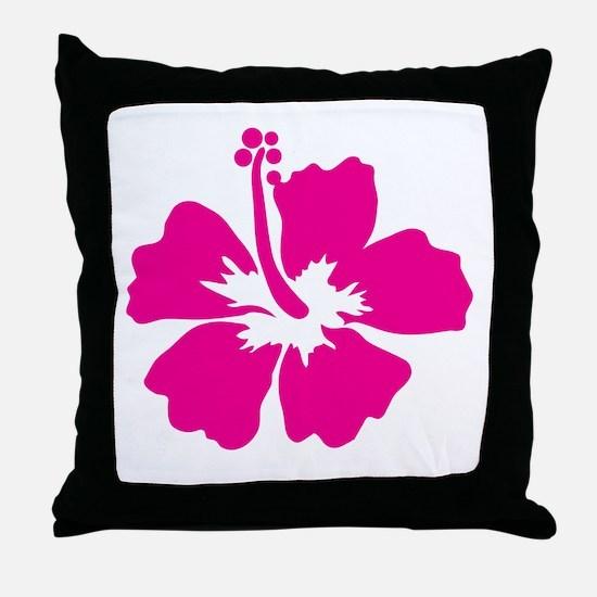 Hot Pink Hibiscus Flower Throw Pillow