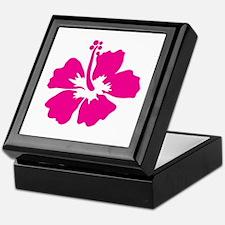 Hot Pink Hibiscus Flower Keepsake Box