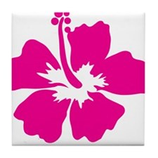 Hot Pink Hibiscus Flower Tile Coaster