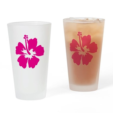 Hot Pink Hibiscus Flower Drinking Glass