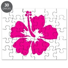 Hot Pink Hibiscus Flower Puzzle