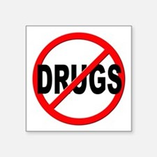 "Anti / No Drugs Square Sticker 3"" x 3"""