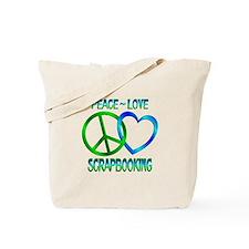 Peace Love Scrapbooking Tote Bag