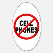 Anti / No Cell Phones Sticker (Oval)