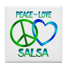 Peace Love Salsa Tile Coaster