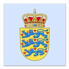"""Denmark Coat Of Arms Square Car Magnet 3"""" x 3"""""""