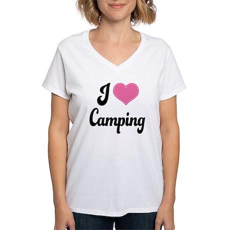 I Love Camping Women's V-Neck T-Shirt