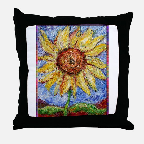 Sunflower!Colorful flower art! Throw Pillow