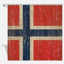 Vintage Norway Flag Shower Curtain