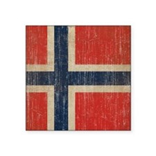"Vintage Norway Flag Square Sticker 3"" x 3"""