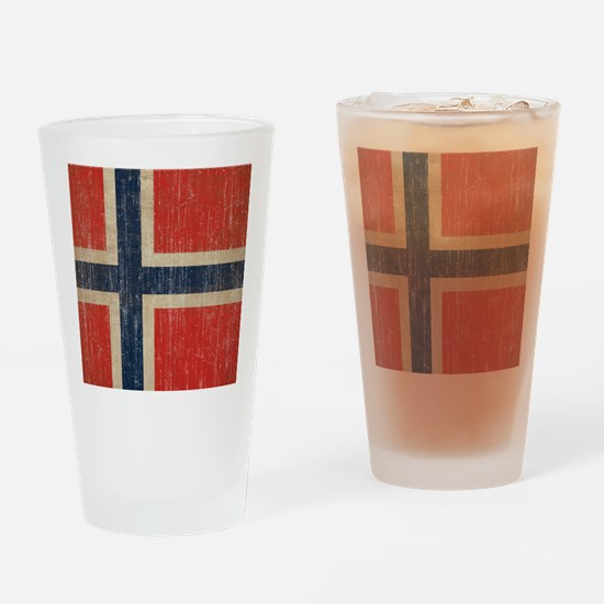 Vintage Norway Flag Drinking Glass