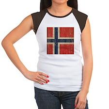 Vintage Norway Flag Women's Cap Sleeve T-Shirt