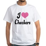 I Love Checkers White T-Shirt