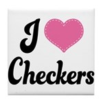 I Love Checkers Tile Coaster