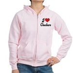 I Love Checkers Women's Zip Hoodie