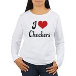 I Love Checkers Women's Long Sleeve T-Shirt