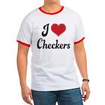 I Love Checkers Ringer T