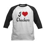 I Love Checkers Kids Baseball Jersey