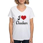 I Love Checkers Women's V-Neck T-Shirt
