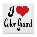 I Love Color Guard Tile Coaster