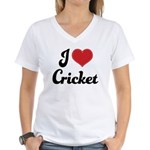 I Love Cricket Women's V-Neck T-Shirt