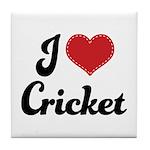 I Love Cricket Tile Coaster