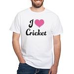 I Love Cricket White T-Shirt