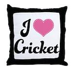 I Love Cricket Throw Pillow