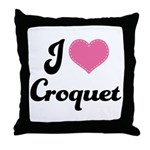 I Love Croquet Throw Pillow