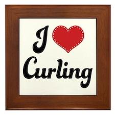 I Love Curling Framed Tile
